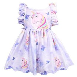 2019 rosa einhorn kostüm Neue Sommer Rosa Baby Mädchen Kleid Einhorn Gedruckt Kinder Kleidung Kleinkind Kinder Prinzessin Kleider Lila Mädchen Enfant Kostüm rabatt rosa einhorn kostüm