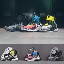 2019 botas camufladas 2019 ACRONYM X Presto 2.0 Meados Sapatos de Corrida Dos Homens Amarelo Preto Branco Almofada de Ar Prestos Designer de Tênis Mulheres Botas de Camuflagem Graffiti desconto botas camufladas
