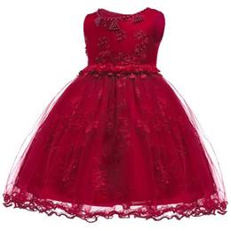 Vestiti del bambino 12 mesi ragazza online-Baby Girl Clothes Abito da sposa per le ragazze Christmas Princess Dress Infant 2 1 anno prima Birthday Girl Party Dress 24 12 mesi Y190516