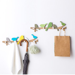 coating room Promo Codes - 1 PCS 4 Hooks Home Decorative Hooks Creative Bird Branch Coat Hook Rail Hanger Living Room Wall Door Hanging Wall Decorations
