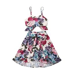 Canada Summer Kids Toddler Vêtements Bébé Fille Set Floral Vêtements Tops Jupes Robe Longue 2Pcs Set Toddler Fille Tenues Costume cheap floral long tops Offre