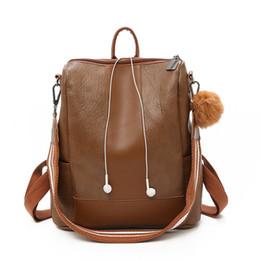 Pacco posteriore in pelle d'epoca online-2019 Vintage Fashion Anti Theft Zaino femminile Shoulder Bagpack alta qualità PU donne zaino in pelle Softback Back Pack Borse