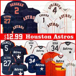 Jersey houston online-Houston 2 Alex Bregman Astros Jersey 27 Jose Altuve 1 Carlos Correa 4 George Springer 34 Nolan Ryan Justin Verlander Jeff Bagwell Jersey
