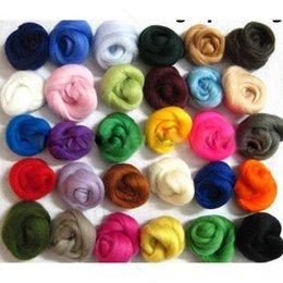 36 cores De Fibra De Lã De Fibra De Lã Para Agulhas Felting Mão Girando NEW Craft frete grátis de Fornecedores de feltragem de agulhas