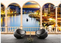 Decoração de veneza on-line-WDBH personalizado foto papel de parede 3d Veneza Rio Night Lights Paisagem fundo home decor sala papel de parede para parede 3 d