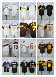 Jerseys baratos PADRES Blank # / 2 # MANZIEL / 7 # HEADLEY / 19 # GWYNN Blanco Marrón Azul oscuro Béisbol Béisbol camisetas Camiseta cosida de calidad superior! desde fabricantes