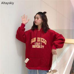 Hoodies Women Letter Long Coat Simple Elegant Students Casual Outwear Womens Korean Style All-match Harajuku Sweatshirts 2019 Women's Clothing
