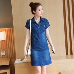 2019 vestido de jeans de talla grande S-4XL Summer Women classic A line Denim Plus Size Dress Cuello en V Manga corta Loose Casual Jeans Vestidos naturales maxi hasta la rodilla vestido de jeans de talla grande baratos