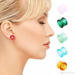 5PC tappi per le orecchie di vetro e gallerie doppio flare tunnel di carne piercing tunnel di carne orecchio calibri ear expander monili del corpo piercing da