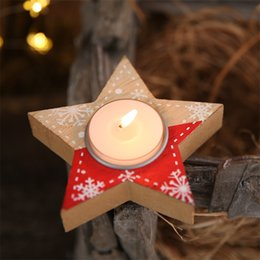 wholesale decorative indoor trees Promo Codes - Fashion Five Pointed Star Candle Case Wood Hearts Shape Candlestick Decorative Christmas Tree Candles Holder Indoor Party Decor 4 6hb E1