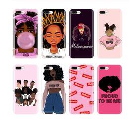 Caso del telefono di iphone per le ragazze online-Casi 2bunz melanina Poppin Aba per iPhone 11 Pro X XS copertura XR Max Moda ragazza nera TPU telefono per l'iPhone 6 6s 8 Plus per Samsung S10e