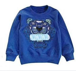 Sudadera infantil Bordado Tiger Head Suéter Niños Niñas Sudadera Bordado Carta Chaqueta Niño ropa con capucha Ropa para niños desde fabricantes