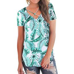 29fd4b36e1 Tops y blusas para mujer Blusa de verano de manga corta Mujer con cordones  2019 Tops para mujer Imprimir Streetwear Top y blusas para mujer 2019