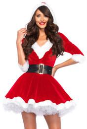 maniche rosse midi Sconti Breve Red Furry Vestito longuette manica costume 2019 sexy di Natale il vestito incappucciato è con il cappello di un pezzo costumi del Babbo Natale
