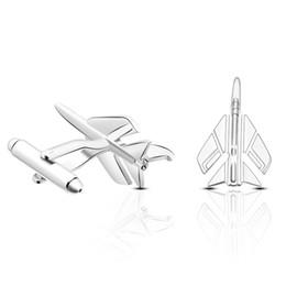 2019 vendas de avião Venda quente de Cobre Empate Clipe Moda Avião Styling Abotoaduras Mens Metal AirPlane Abotoaduras Para Homens Lepton Avião Abotoaduras de Design desconto vendas de avião