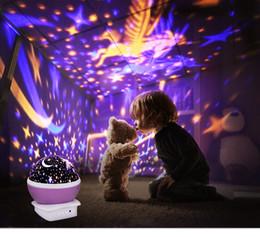 2019 stern drehen licht heißer Verkauf drehende Nachtlicht-Projektor-Lampen-sternenklarer Himmel-Stern-Einhorn-Kind-Kind-Baby-Schlaf-romantische geführte Projektionslampe rabatt stern drehen licht