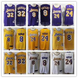 michael jackson azul Desconto 2019 Los Angeleshomens LakersNBA Kobe Bryant 24 8 Men Earvin Johnson 32 basquete jersey Shaquille # 34 O Neal
