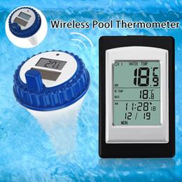 Termometro di nuoto online-Digitale Professionale Wireless Piscina Termometro SPA Meter galleggiante di temperatura con 3 canali / Tempo di allarme / calendario
