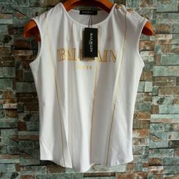 Colheita camiseta on-line-Balmain Womens Designer T Camisas De Luxo Das Mulheres Designer de Roupas Top Colheita Roupas Femininas Tees Tamanho S-L