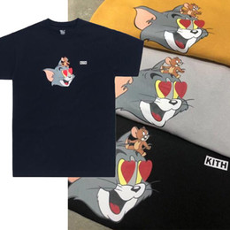 Camiseta homem x on-line-19SS Kith X Tom Jerry Heart Tee Cat and Mouse Cute Cartoon Printed Men Women T-shirt Simple Summer Short Sleeve Street Skateboard Tee