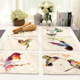 tazas de aves Rebajas Bird Branch patrón Mantel Posavasos de comedor Mat algodón de lino Tazón Copa Mats pads de cocina 42 * 32 cm Decoración