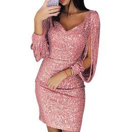 2019 Euro-Amerikan Püskül kollu V Yaka Seksi Elbiseler Etek Parlak Kristal Püskül Uzun Kollu Ince Kalça Tek Parça Elbise S-3XL nereden