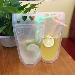 Bolsa de plástico fosco on-line-Transparente Beber Saco Bolsas fosco Zipper Stand-up De Plástico Beber Saco com palha Suco Ao Ar Livre Sacos Drinkware GGA2383