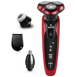 Máquina de barbear recarregável on-line-4D rotativo masculino barbeador elétrico molhado seco barbeador elétrico para homens barba barbear máquina de barbear recarregável facial barbeador eletrônico