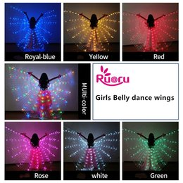 Argentina Ruoru Girls Colored Belly Dance LED Wings White Rainbow niños Led Isis Wings Bellydance Performance Dancing Accesorios Suministro