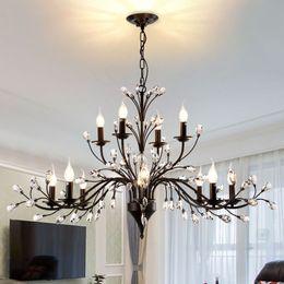 Lamp Restaurant Kitchen Lighting Retro Antique Crystal Drops Chandeliers Restoration Hardware Lighting Chandelier Living Room Ac 90 260v