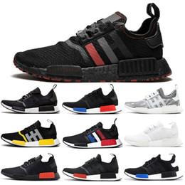 Обувь доставка по японии онлайн-Adidas NMD Boost R1 Кроссовки для Женщин Мужчин OG Atmos Япония Солнечный Красный Гром Трехцветный Трехместный Белый Черный Мужской Тренер Спортивные Кроссовки Бесплатная Доставка