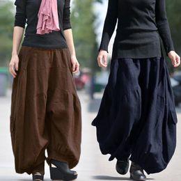 Pantalón de algodón retro para mujer Pantalones de harén holgazanes étnicos con mangas sueltas desde fabricantes