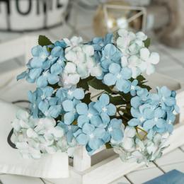 Vasi di bud online-Decorazione fiori finti fiori casa matrimonio vaso fiore artificiale decorazione ortensia 10 ortensie fiore singolo fiore