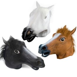 rubber latex costumes Promo Codes - Creepy Horse Mask Head Halloween Costume Theater Prop Novelty Latex Rubber 3 colors Top quality hot