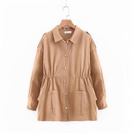 casaco de ruffle tamanho maior Desconto Cintura com cordão Mulheres Jaqueta Coreano Jaqueta Pérolas Botão Casacos de Manga Longa Plissado Jaqueta de Algodão Moda Plus Size Feminina SH190816