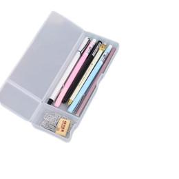 Katı renk saydam buzlu plastik kırtasiye kalem kutusu basit fonksiyonlu saklama kalem kalem kutusu yaratıcı öğrenciler kalem çantaları nereden