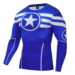 Camisas de manga longa de super-herói on-line-Superhero 3D Correndo Camisa Rashgard dos homens Camisa de Manga Longa Camisa de Compressão camisas Dos Homens de Fitness T-Shirts Esportivas