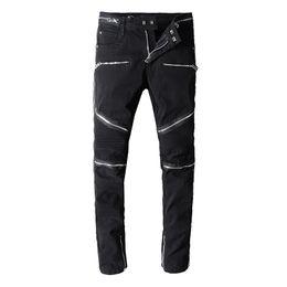 mens gemusterte hose Rabatt Balmain Herren Jeans Motorrad Biker Pattern Jeans Rock Verbreiterung Mast gerissen Cool Pattern Mottled echte Hosen Designer Frauen Jeans
