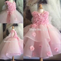2019 vestidos para blumenmädchen Rosa Organza Blumenmädchen Kleid Vestidos Primera Comunion Para Ninas 2020 Blütenblatt Perlen Ballkleid Mädchen Festzug Kleider günstig vestidos para blumenmädchen