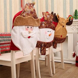 2019 cadeiras de rosto Presidente Rosto de Natal de Santa cobre um conjunto Chair Voltar Jantar Decor Tabela bonito e festivo Covers enfeite de Natal # 4l23 desconto cadeiras de rosto