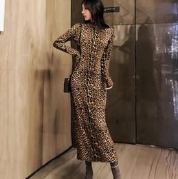 Leopard print sexy women long turtleneck dress Bodycon strap christmas winter  dress Elegant maxi party vintage LJ41 a009aa117