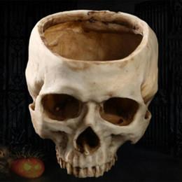 Deutschland Harz Handwerk Menschlicher Zahn Schädel Fossil Teaching Skeleton Modell Halloween Home Office Blumentopf Übertopf Schädel-Topf Dekoration SH190926 Versorgung