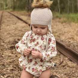 0577002c9617 Children s jumpsuit infant clothing ins explosion models floral  long-sleeved hat European and American baby triangle climbing romper onesies