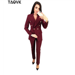 feminine clothing for women Coupons - TAOVK OL Pant Suits Double-breasted Turn-down Collar Blazer top+Pants 2 piece outfits for women Feminine clothes pantsuit 2019 T190611