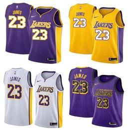 2019 New Style Fans # 23 James Jersey Herren Stickerei Basketball Westen Purple And White Edition Trikots von Fabrikanten