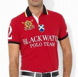 Ajuste clásico de polo online-Polo Team caballo grande a estrenar del polo de los hombres Negro reloj clásico del Custom Fit Casual algodón de manga corta T-Shirts S-XXL