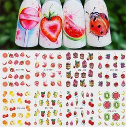 Harajuku nagel online-Hot Mixed Design Sommer Obst Retro Kuchen Nail art Sticker Set Harajuku Element Wasser Transfer Aufkleber Maniküre Werkzeug Tipps Nail art Dekorationen