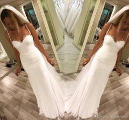 Hochzeitskleid einfache spalte online-Neue Designer SpitzeAppliques Schatz-Tulle-Nixe-Brautkleider Spaghetti Mopping Lange übersichtliches Design Mantel Spalte Brautkleider