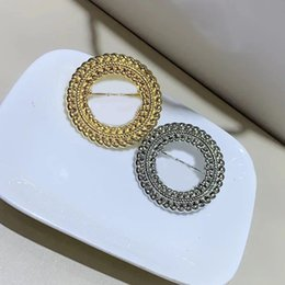 ladies ornament Promo Codes - 4X4CM Two color alloy retro brooch C letter brooch for ladies collection Luxury design brooch badges clothes pin ornaments 2pcs lot