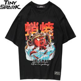 2019 estilo camisa oversized 2019 Hip Hop Camiseta Streetwear Oversized Engraçado Polvo Homens Harajuku T-Shirt Estilo Japonês Verão Tops Tees Algodão Tshirt preto estilo camisa oversized barato